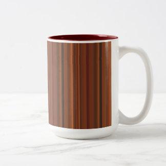 Warm Brown Stripe Two-Tone Coffee Mug