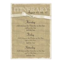 Warm Burlap and Bow Itinerary Announcement