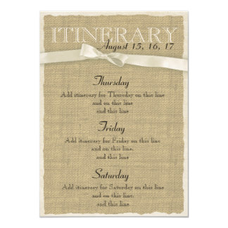 Warm Burlap and Bow Itinerary 4.5x6.25 Paper Invitation Card