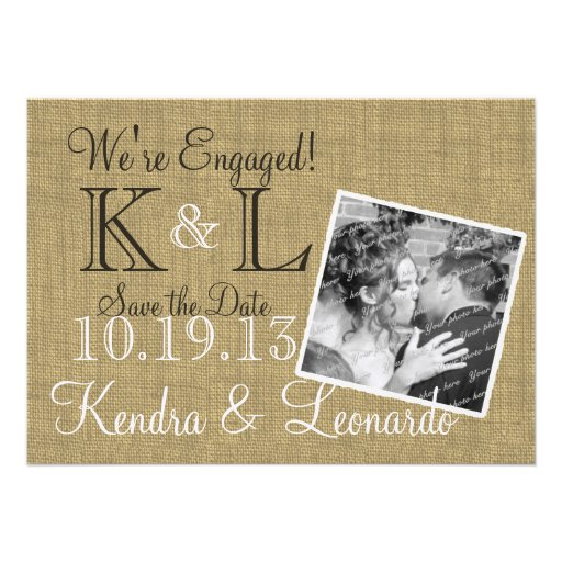Warm Burlap Rustic Country Save the Date Invitation