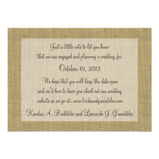 Warm Burlap Rustic Country Save the Date Invitation (back side)