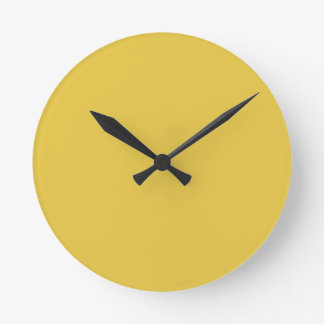 Warm Butterscotch Solid Color Round Wall Clock
