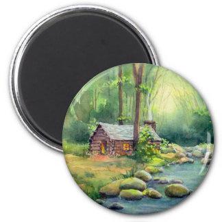 WARM CABIN by SHARON SHARPE 2 Inch Round Magnet