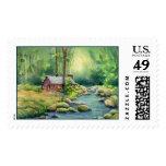 WARM CABIN by SHARON SHARPE Postage Stamp