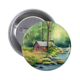 WARM CABIN in the WOODS by SHARON SHARPE Button