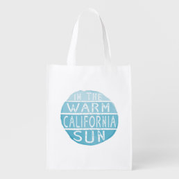 Warm California Sun Vintage Typography Blue Grocery Bag