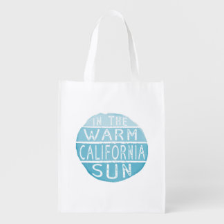 Warm California Sun Vintage Typography Blue Grocery Bag