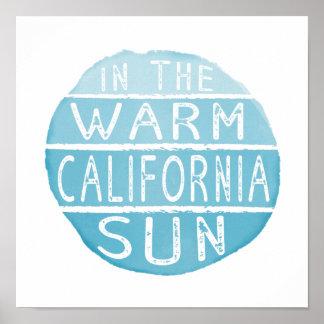 Warm California Sun Vintage Typography Blue Poster