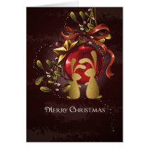 Warm Charming Bunnies n' Mistletoe Merry Christmas Card
