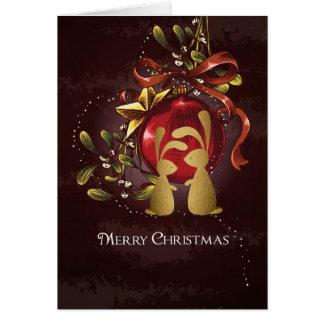 Warm Charming Bunnies n' Mistletoe Merry Christmas Card