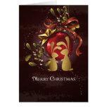 Warm Charming Bunnies n' Mistletoe Merry Christmas Greeting Card