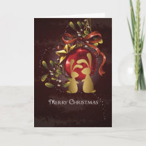 Warm Charming Bunnies n' Mistletoe Merry Christmas Holiday Card