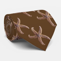 Warm Chocolate Brown Starfish Pattern Tie