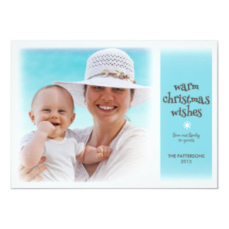 Warm Christmas Wishes Beach Blue Photo Card