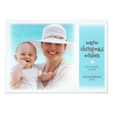 Beach Themed Warm Christmas Wishes Beach Blue Photo Card