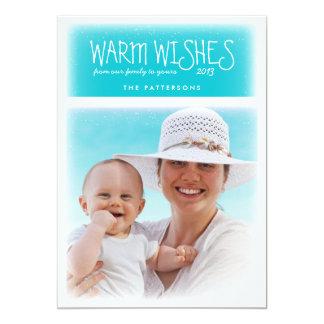 Warm Christmas Wishes Beach Blue Photo Card