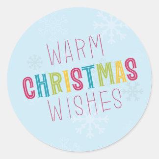 Warm Christmas Wishes Classic Round Sticker