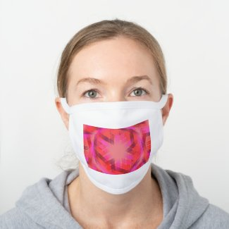 Warm color geometric pattern - white cotton face mask