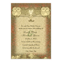 Warm Color Red Gold Vintage Owl Wedding Invitation