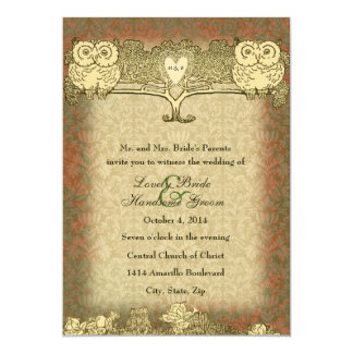 Warm Color Red Gold Vintage Owl Wedding Invitation