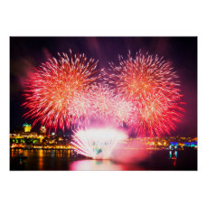 Warm Colored Fireworks Poster