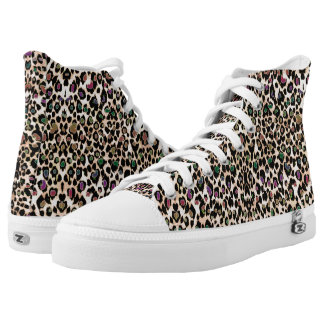 Warm Colorful Leopard Skin Animal Print Shoes. Printed Shoes
