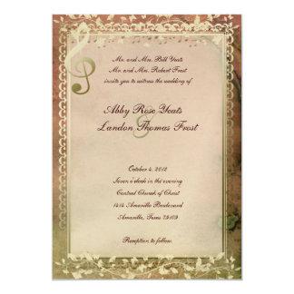 "Warm Colors Music Lovers Wedding Invitation 5"" X 7"" Invitation Card"