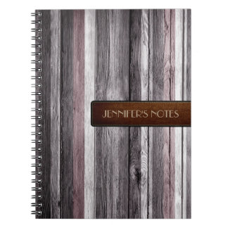 Warm Colors Wood Elegant Leather Look #12 Notebook