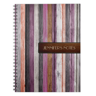 Warm Colors Wood Elegant Leather Look #2 Spiral Notebook