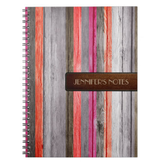 Warm Colors Wood Elegant Leather Look #3 Notebook