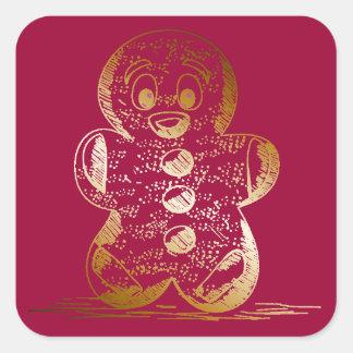 Warm Copper Gingerbread Man Square Sticker