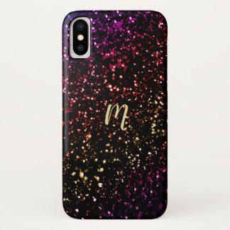 Warm Dark Rainbow Glitter Monogram iPhone X Case