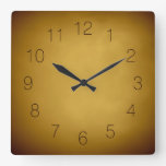Warm Earth Colors Gold Yellow Ocher Rich Red Brown Square Wall Clocks