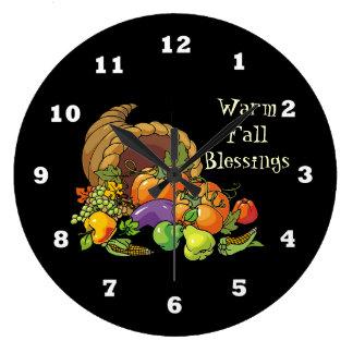 Warm Fall Blessings wall clock