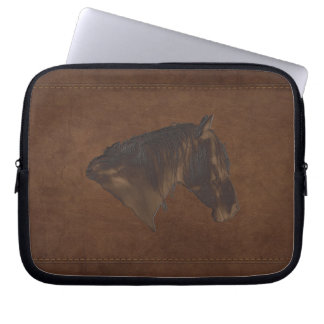 Warm Faux Leather and Faux Horse Carving Computer Sleeve