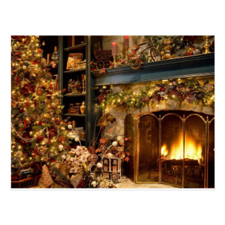 Warm Fireplace By The Christmas Tree Postcard