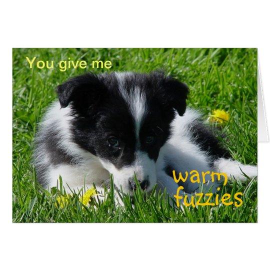 Warm Fuzzies Border Collie Puppy Valentine Card