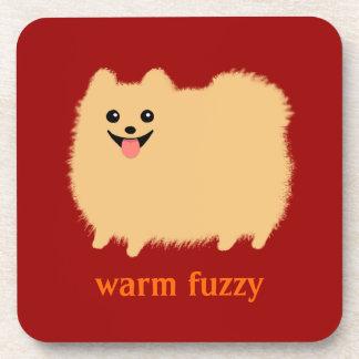 """""""Warm Fuzzy"""" Cute Pomeranian with Custom Text Drink Coasters"""