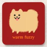 """""""Warm Fuzzy"""" Cute Pomeranian with Custom Text Drink Coaster"""