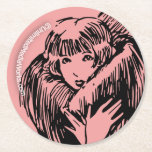 Warm Fuzzy Girl Round Paper Coaster