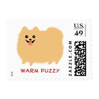 """""""Warm Fuzzy"""" Pomeranian - Custom Text Postage Stamp"""