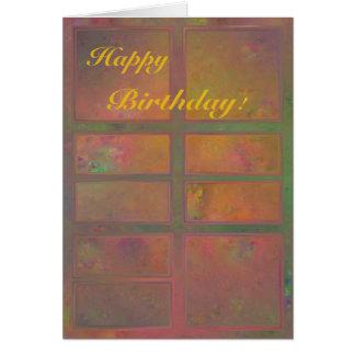 Warm Glow Orange Abstract Birthday Card