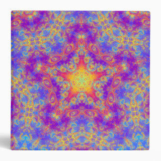 Warm Glow Star Bright Color Swirl Kaleidoscope Art 3 Ring Binder
