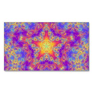 Warm Glow Star Bright Color Swirl Kaleidoscope Art Business Card Magnet