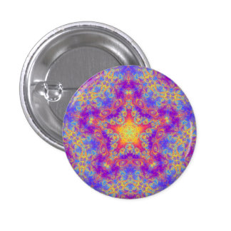 Warm Glow Star Bright Color Swirl Kaleidoscope Art Button