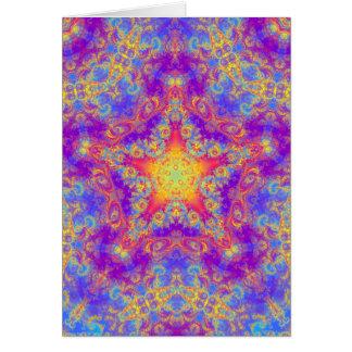 Warm Glow Star Bright Color Swirl Kaleidoscope Art Card