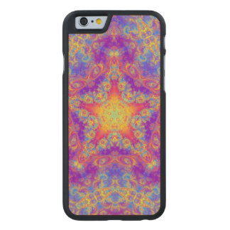 Warm Glow Star Bright Color Swirl Kaleidoscope Art Carved® Maple iPhone 6 Case