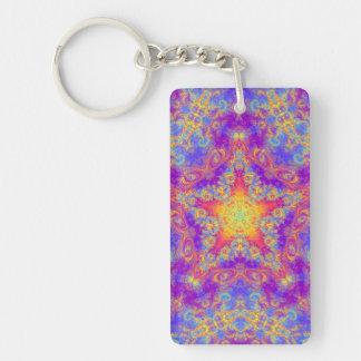 Warm Glow Star Bright Color Swirl Kaleidoscope Art Double-Sided Rectangular Acrylic Keychain