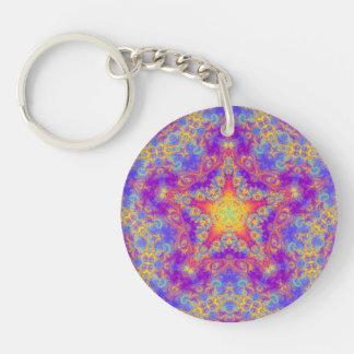 Warm Glow Star Bright Color Swirl Kaleidoscope Art Double-Sided Round Acrylic Keychain