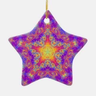 Warm Glow Star Bright Color Swirl Kaleidoscope Art Double-Sided Star Ceramic Christmas Ornament